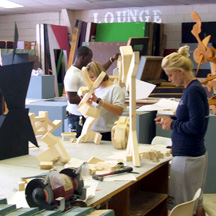 Art students working
