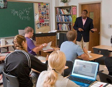 Professor speaking in front of class