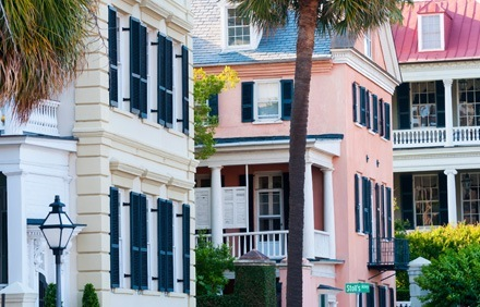 Exterior of houses in Charleston