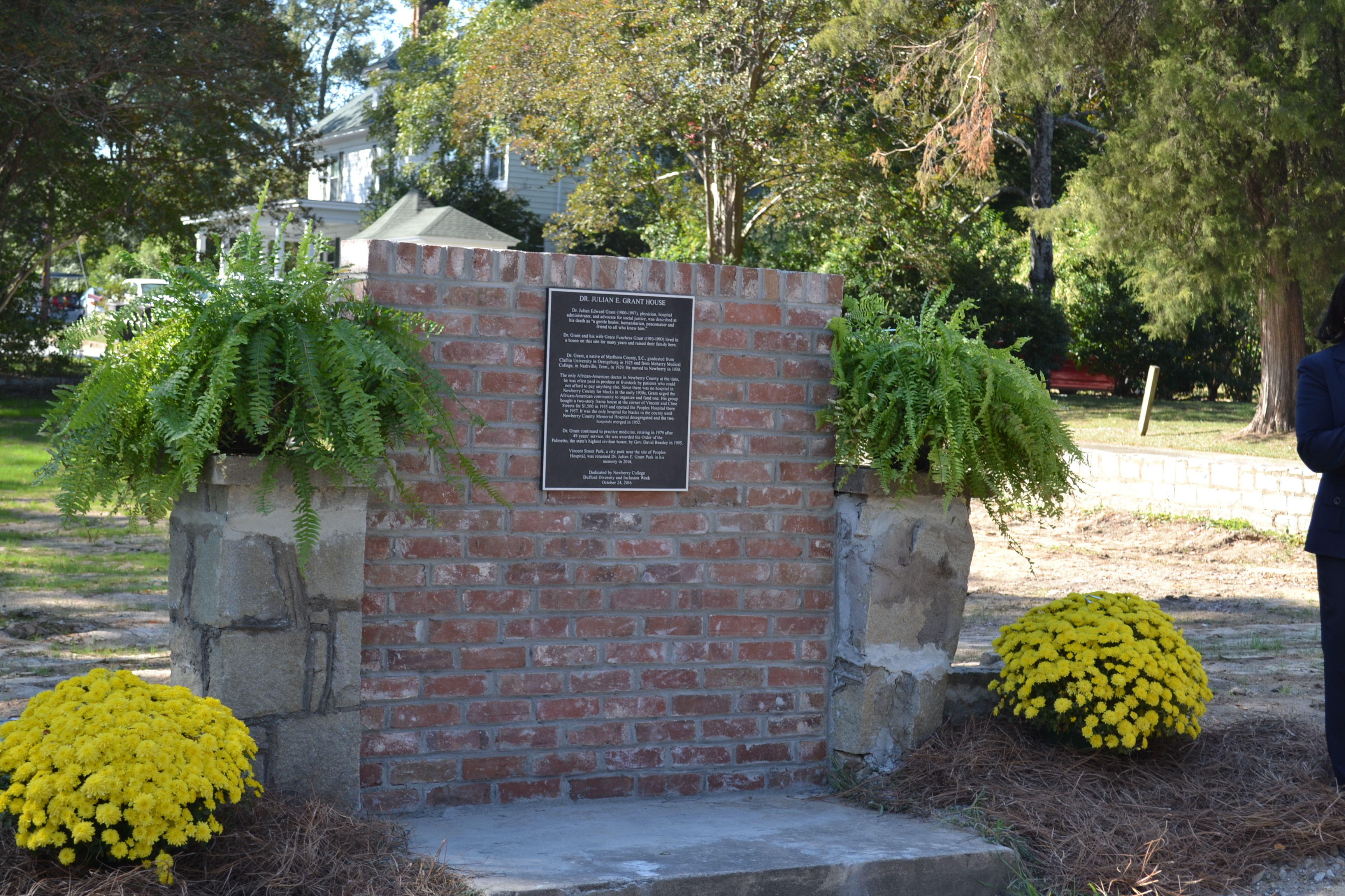 Dr. Grant's commerative marker with plaque